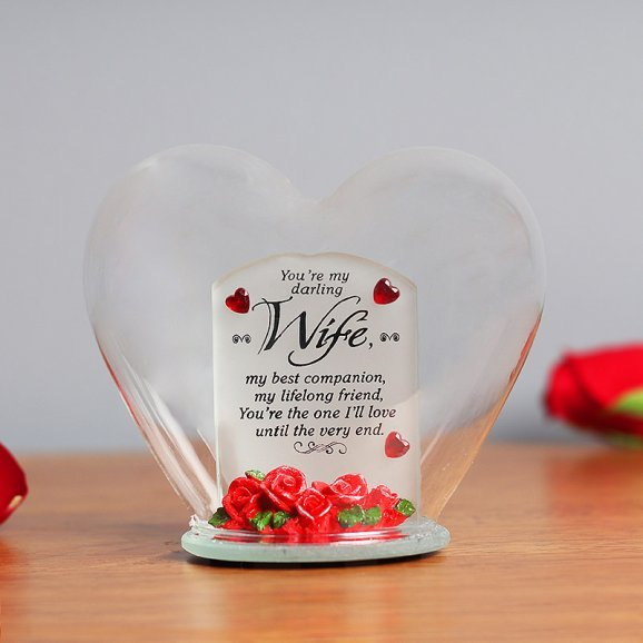 Heart Shaped Glass Quotation for Wife