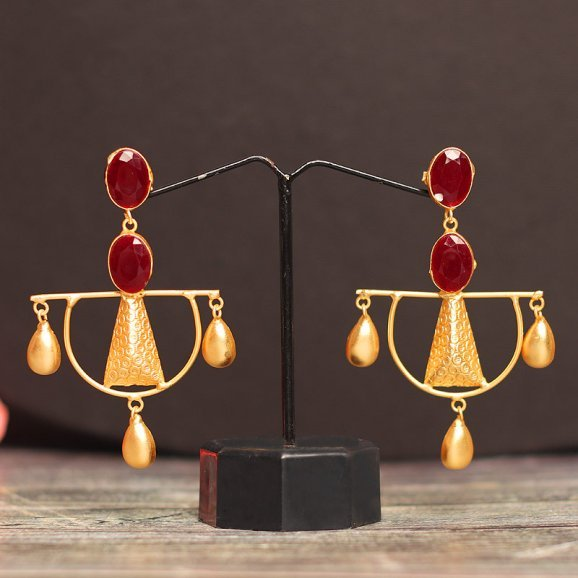 Gold Plated Maroon Drop Earring