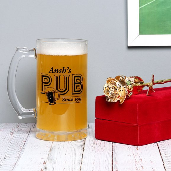 Combo of Personalised Beer Mug with Golden Rose
