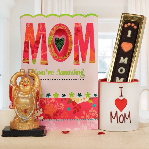 A Gift Combo of Mothers Day Greeting Card with laughing buddha, mug and chocolate