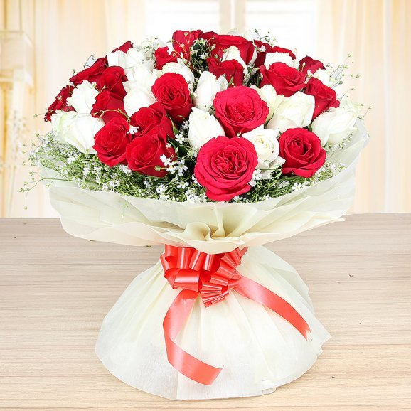 Front view of Gorgeous Blooms - Bunch of 25 red and 25 white roses