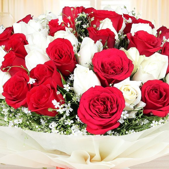 Zoom in view of Gorgeous Blooms - Bunch of 25 red and 25 white roses