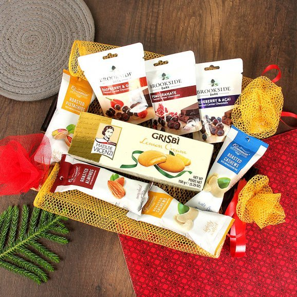 Roasted Dry Fruits with Brookeside Candies and Lemon Cookies Combo