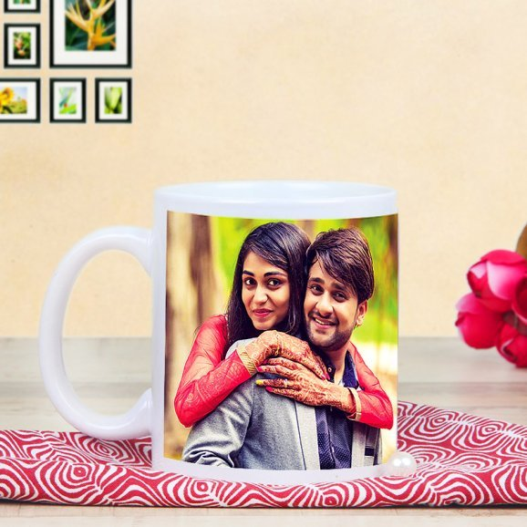 Heart In A Mug - Personalised White Mug with Back Sided View