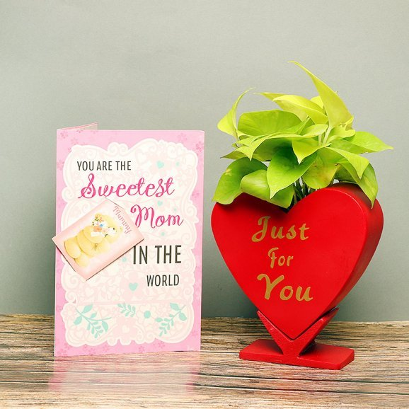 Heart Of A Mother - Combo of Greeting Card and Money Plant in Heart Shaped Planter