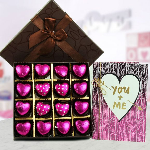 A pack of handmade heart shaped chocolates and A You and Me Card
