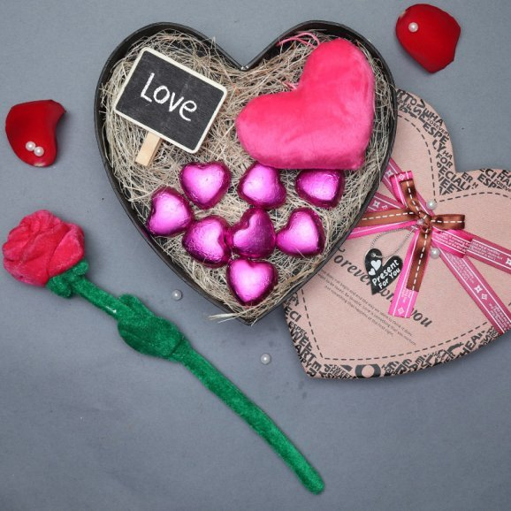 Heart Shaped Chocolates with Rose Hamper
