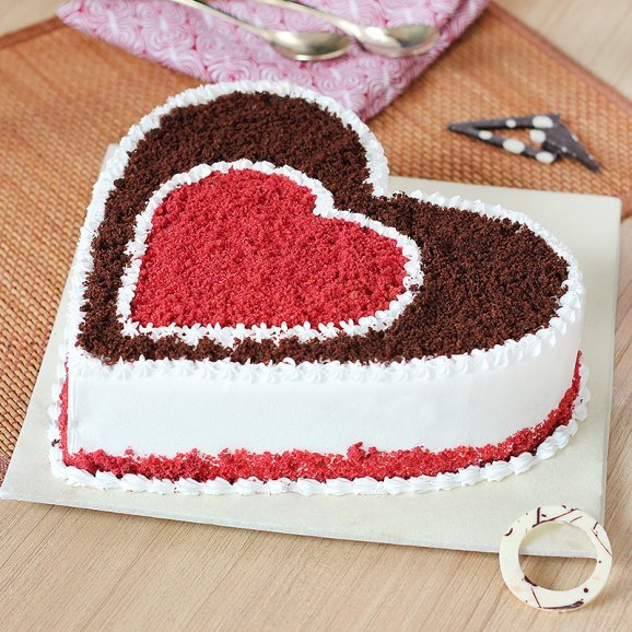 Right side view of Heart shaped choco red velvet cake - A gift of Heavenly Happiness Combo