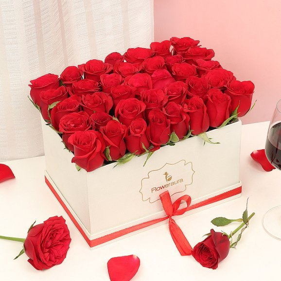 Red Roses Arrangement in a White Flower Box