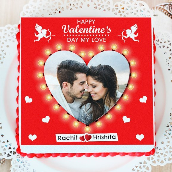 valentine photo cake for couple