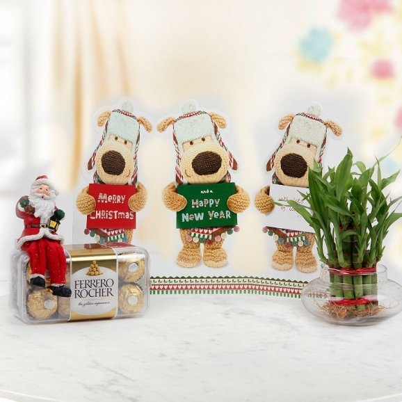 A pack of 16 Ferrero Rocher and a lovable greeting card with an arrangement of tied bamboo stalks that symbolize great luck and health