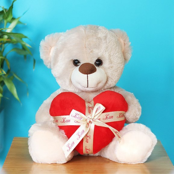 8 Inches White Teddy with Red Heart
