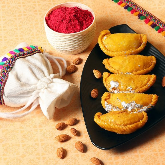 Holi Combo of Sweets and Gulal with Dry Fruits