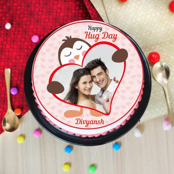 Hug day special photo cake