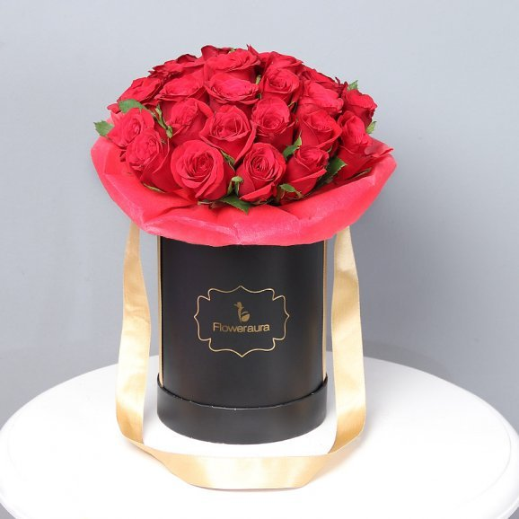 Bunch of Red Roses in a Flower Box