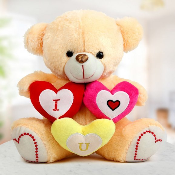 A 14 inch teddy with three I Love You hearts