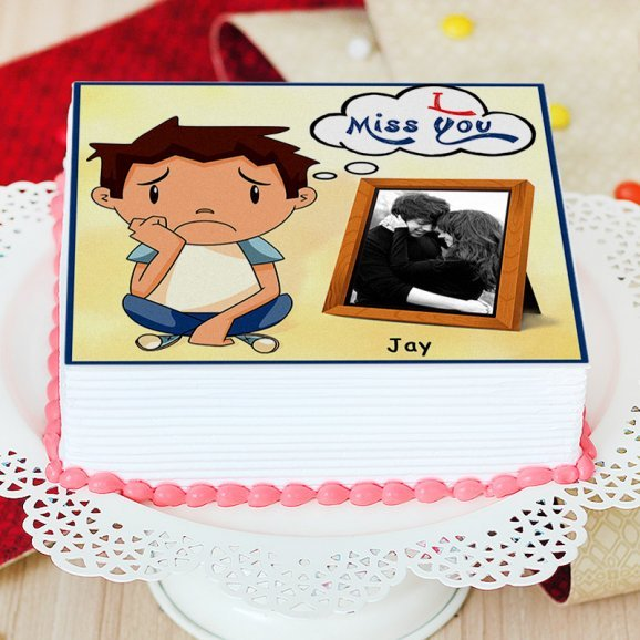 I Miss You Photo Cake - Zoom View