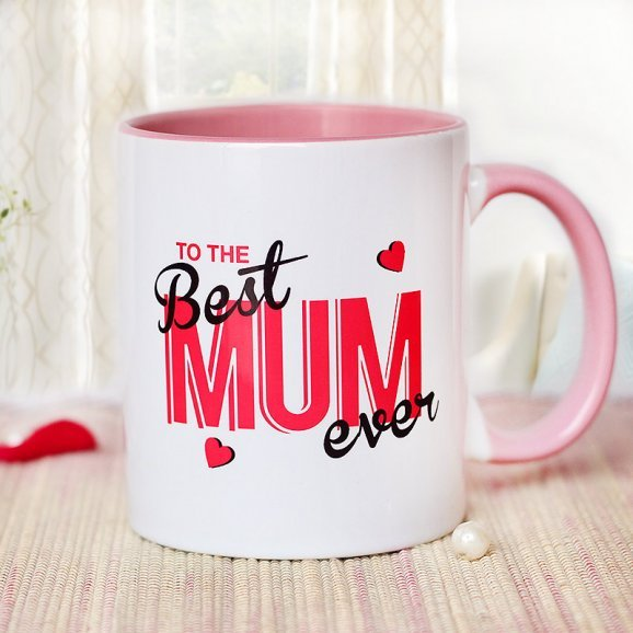 The Best Mum Ever Mug with Front Sided View