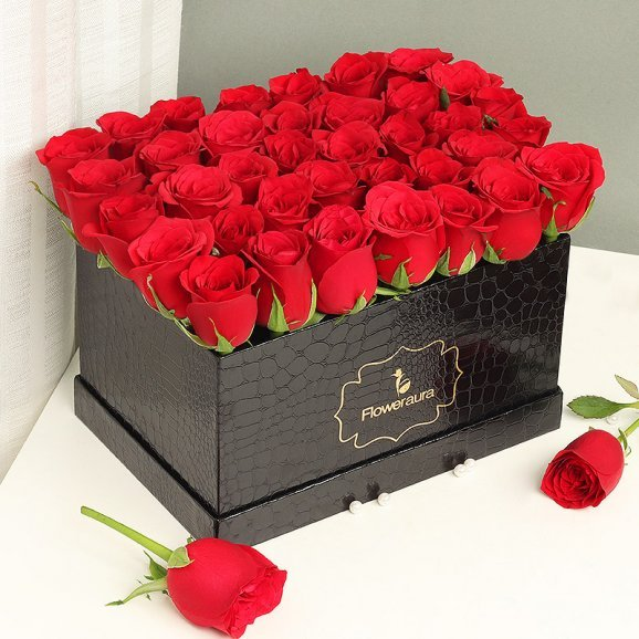 Red Roses Arrangement in a Black Flower Box