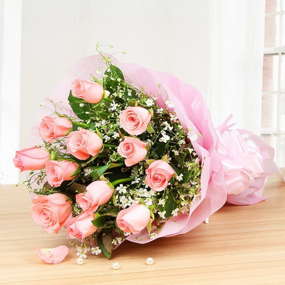 12 pink roses bunch - Part of Irresistible Love