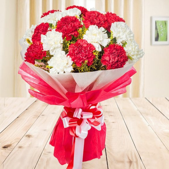 Front view of 5 red and 5 white Carnations bouquet - First gift of Jaw Dropping Combo