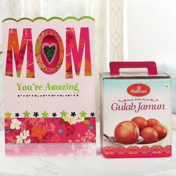 Joys Wrapped - A Mothers Day Gift Combo of Mothers Day Greeting Card with Gulabjamun