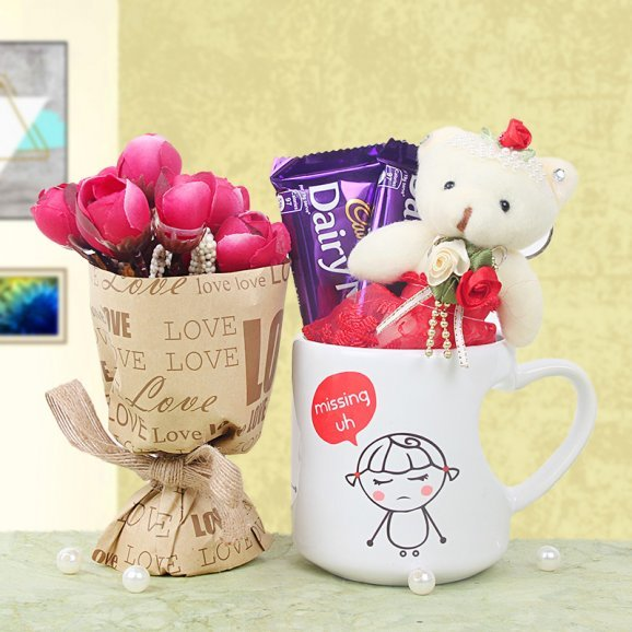 Combo of Artificial Bouquet with 3 Inch Juliet Teddy 2 Cadbury Chocolates and One Missing you Mug