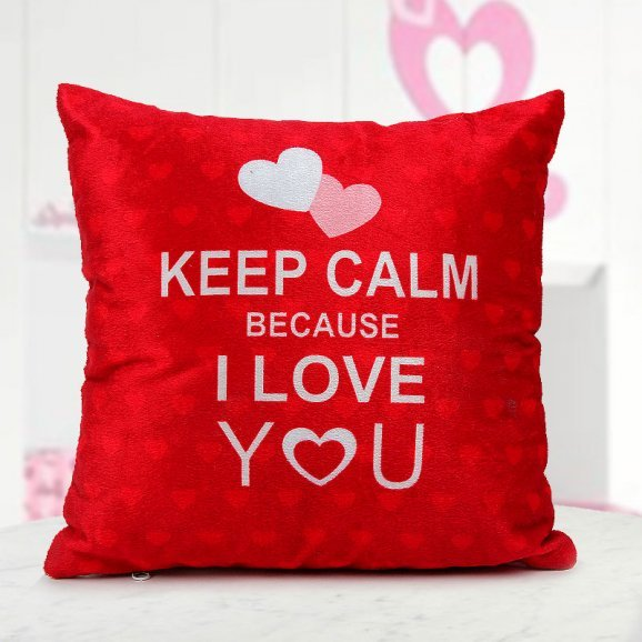 12x12 bright red Keep Calm Because I Love You quoted cushion - valentine gift online