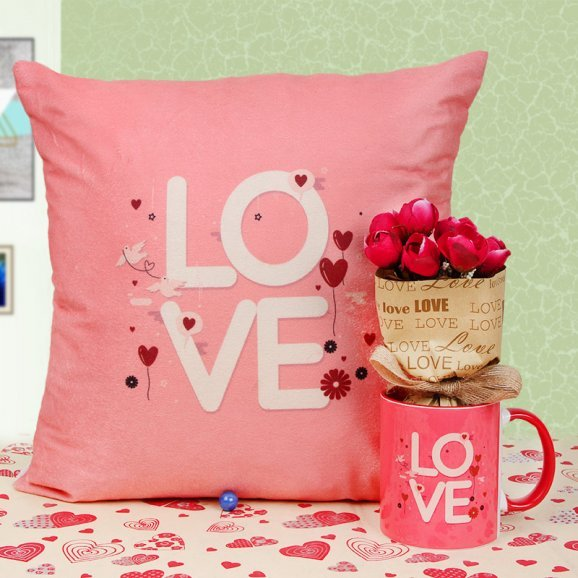 A Love Cushion and Mug with Artificial Flowers Combo