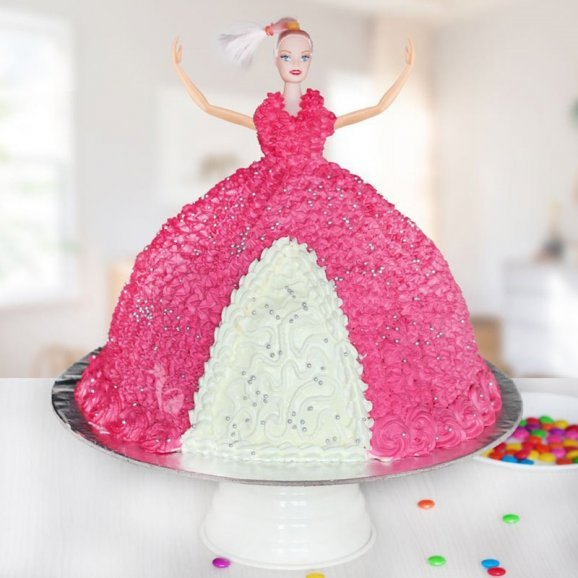 Beautiful Barbie Theme Cream Cake for Birthday Girl