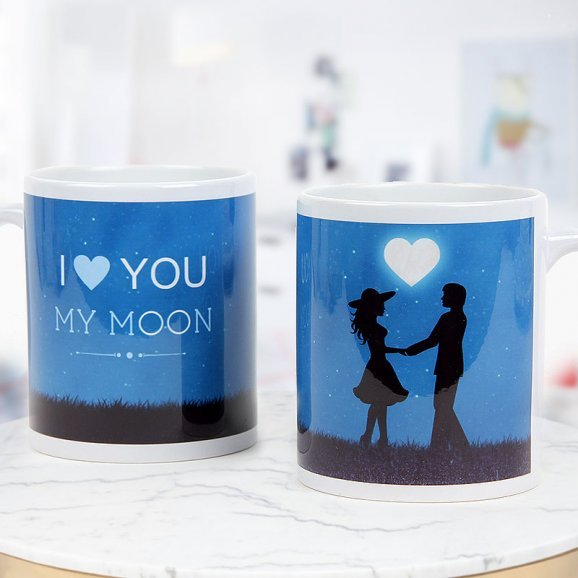 I Love you my moon blue and white mug