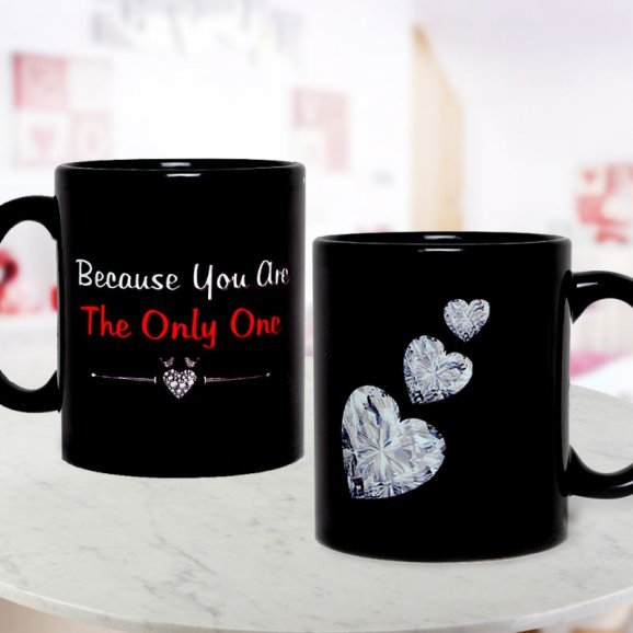 Beautiful Black Color Mug with Diamond Hearts with Both Sided View