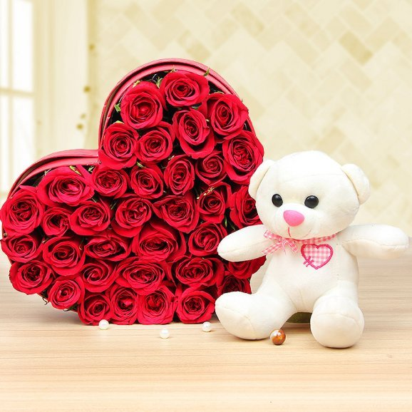 Loads of Hearts - Combo of 6 inches teddy and heart shaped 35 roses bouquet