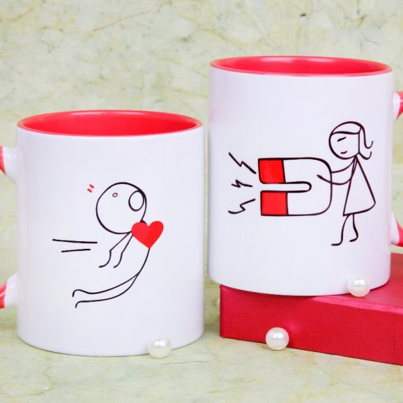 Love Attraction Couple Mugs Set with Cartoon View