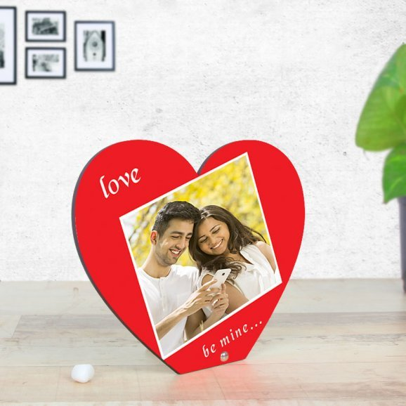 Love Be Mine - Personalised Heart Shaped Table Top with Oblique View