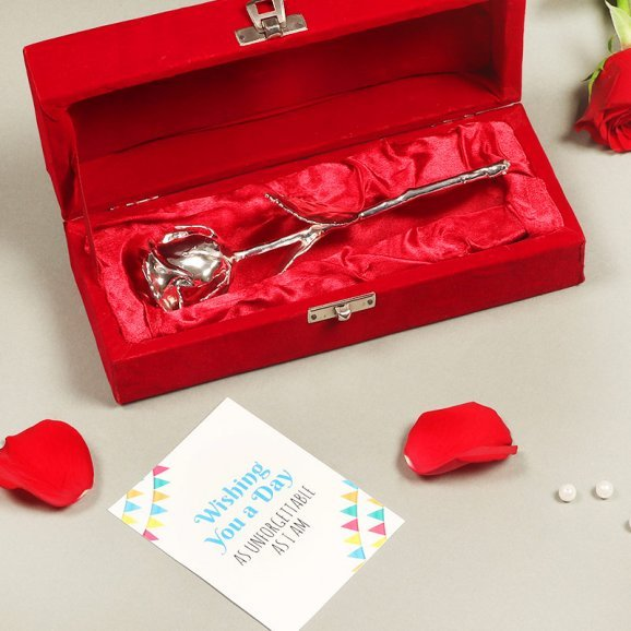 Silver Rose with a Card for Love