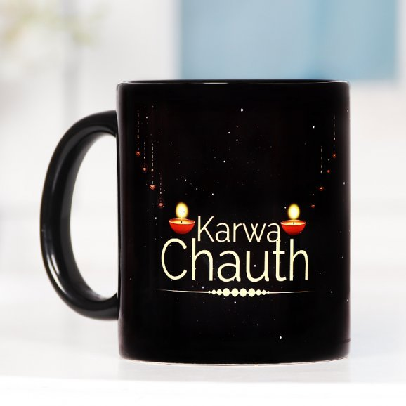 Karwa Chauth Personalised Mug with Back Side View