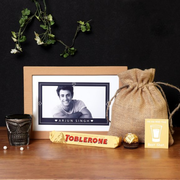 Personalised Frame with Chocolates and Shot Glass Combo
