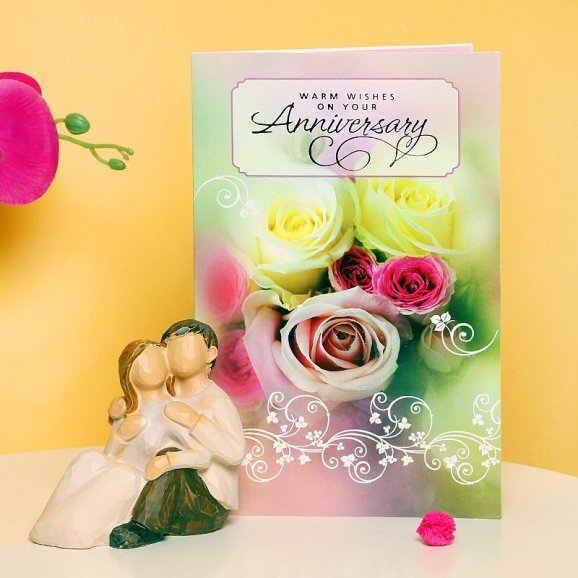 Love Figurine - Anniversary Gift Combo of Figurine and a Greeting Card