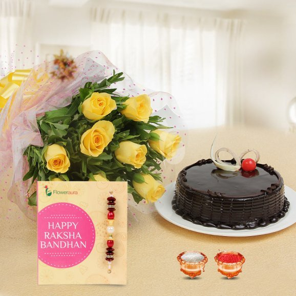 Love Infused Tokens Combo - 10 yellow roses bouquet, 1 Rakhi, 1/2 kg Chocolate Truffle Cake, A pack of Roli & Chawal