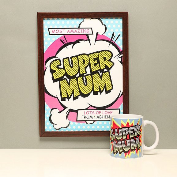 Combo of a Super Mum Poster and a Coffee Mug for Mother