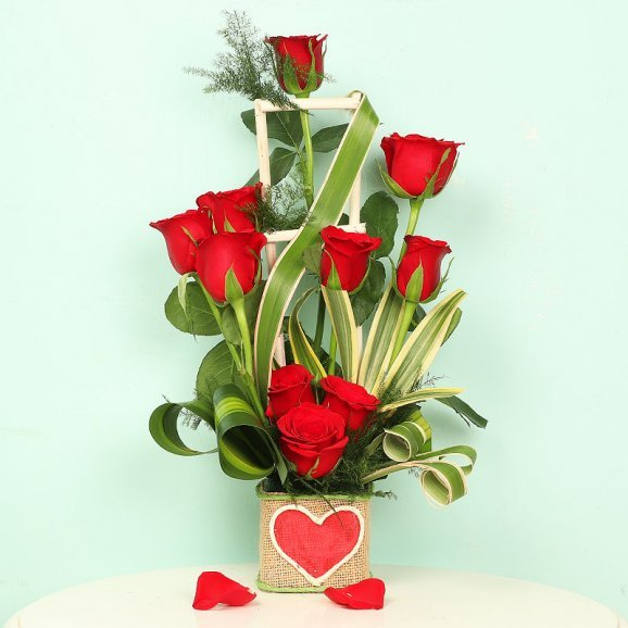 Red Roses Arrangement in a Heart Glass Vase
