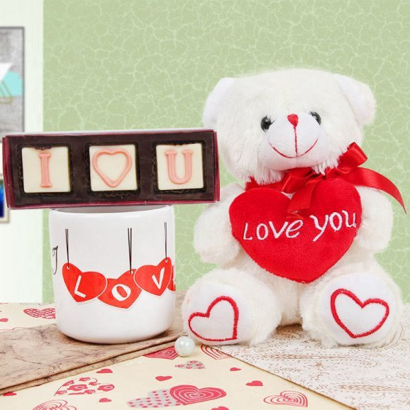 I Love you Printed Mug and Teddy with Chocolates