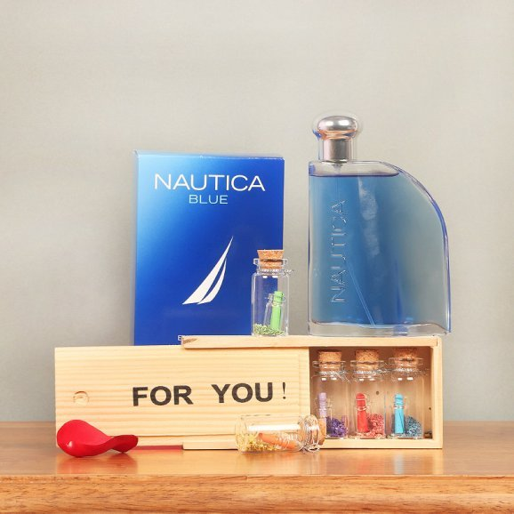 Love Letters in Wooden Box with Nautica Blue Perfume