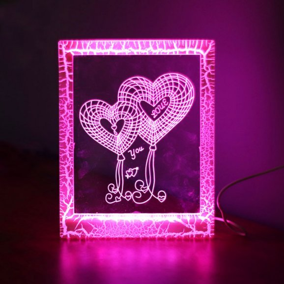 LED Glass Photo Frame with Switched On