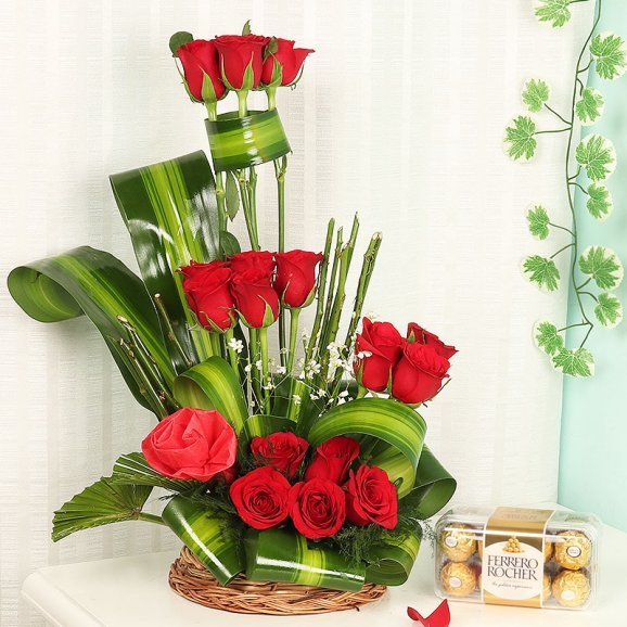 Rose Bouquet in a Basket with Chocolates Combo