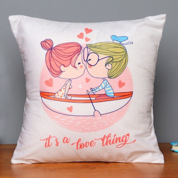 Love Thing Romantic Printed Cushion in Zoomed in View