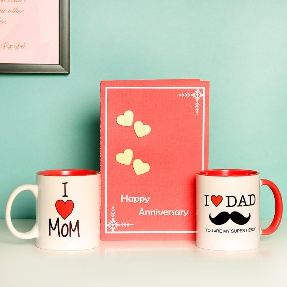 Anniversary Gift Combo of Mugs and a Greeting Card for Parents