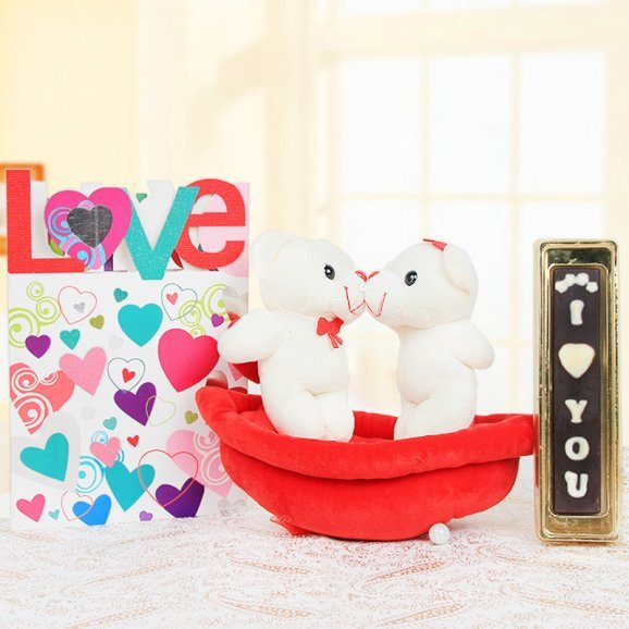 Combo of two kissing teddies and handmade chocolates with a card