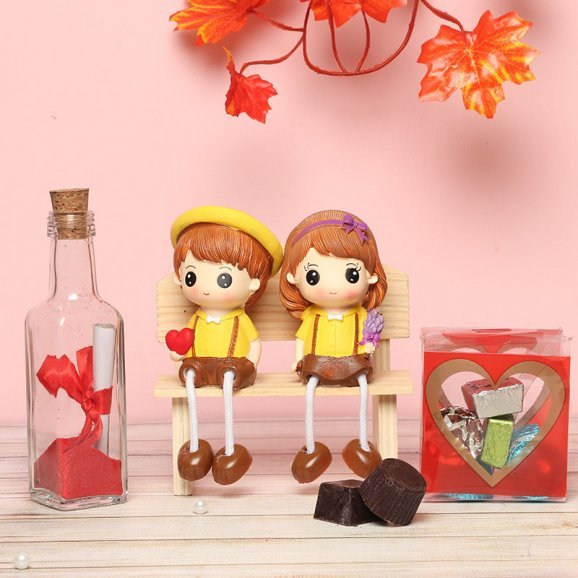 Handmade Chocolates with Couple Dolls and Love Note Combo